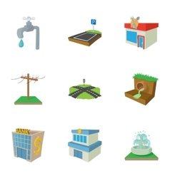 City public buildings icons set cartoon style vector image