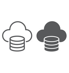 Cloud computing line and glyph icon vector