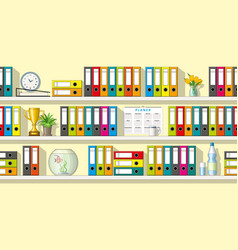 colorful folders and utensils on shelves seamless vector image