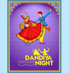 couple playing dandiya in disco garba night poster vector image