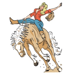 Cowgirl on a bronco vector image