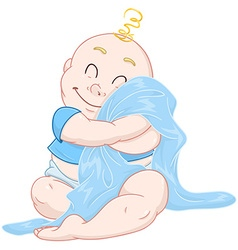 Cute Baby Boy Hugs Blue Blanket vector image