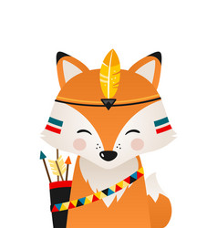 cute fox have headdress with feathers on head vector image