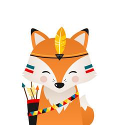 Cute fox have headdress with feathers on head vector