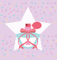 Cute fragrance in star sprinkles background vector