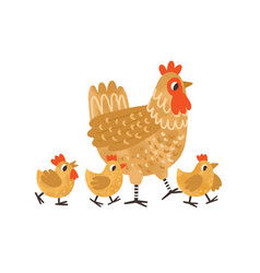Cute hen walking with yellow chicken funny mom vector