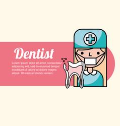 Dentist girl broken tooth vector