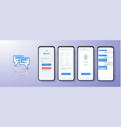 design mobile app login ui ux and gui layout vector image