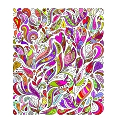 Doodle colorful rainbow floral hand draw pattern vector image