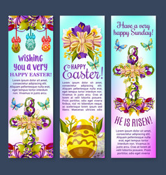 easter greetings banner with egg cross flowers vector image