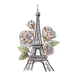 eiffel tower and roses vector image