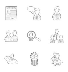 Employee icons set outline style vector
