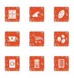 Espresso coffee icons set grunge style vector