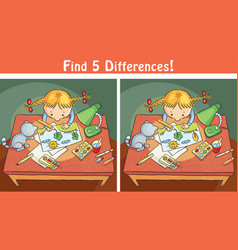 find differences game with a cartoon girl vector image
