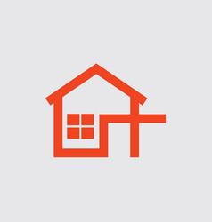 Flat design home icon orange color vector