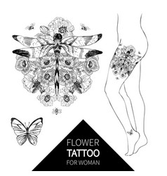 Flowers and dragonfly tattoo in vintage vector