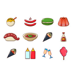 food icon set cartoon style vector image
