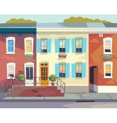 Front doors to house sunny city street vector