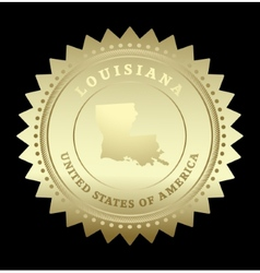 Gold star label Louisiana vector