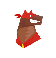 head of superhero dog character in red mask vector image