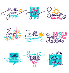 hello summer june july doodle handdrawn vector image