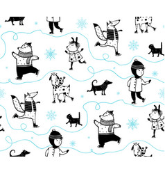 holiday winter skiing animals pattern vector image