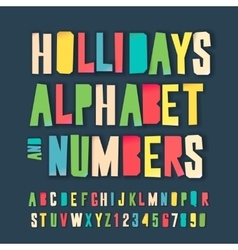 Holidays colorful alphabet and numbers vector image