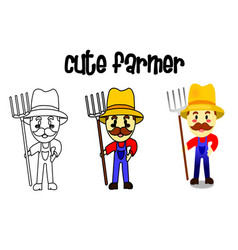 how to drawing the cute farmer isolated man vector image