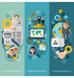 Human resources flat banners set vector image