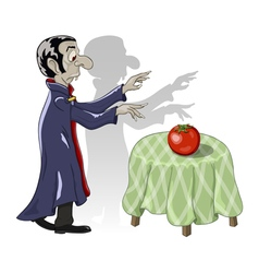 Hungry vampire vegetatian and tomato vector
