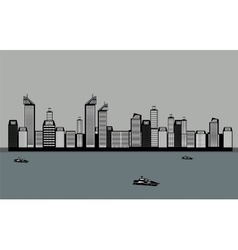 Isolated Buildings of the City Sea Boat vector image