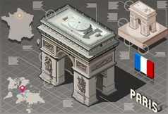 Isometric Infographic Arc de Triomphe in Paris vector
