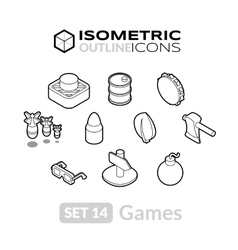 Isometric outline icons set 14 vector