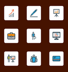 Job icons colored line set with pen computer vector