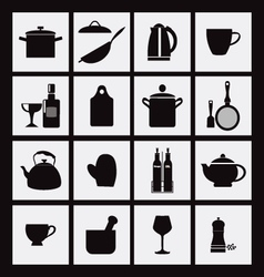 kitchen and restaurant black icon kitchenware vector image