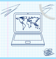 Laptop with world map on screen line sketch icon vector