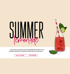 lemonade drink of pink soda water advertising vector image