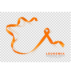 leukemia awareness month orange color ribbon vector image