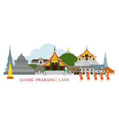 Luang prabang laos landmarks and monks on alms vector