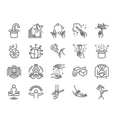 Magic show line icon set vector