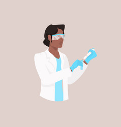 male scientist in protective glasses and gloves vector image