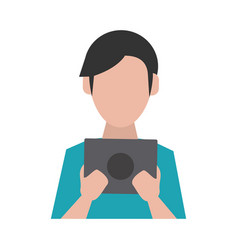 man avatar using tablet icon image vector image