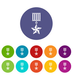 medal star set icons vector image