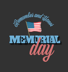 memorial day banner with american flag vector image