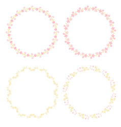 minimal pink and gold cute botanical wreath vector image
