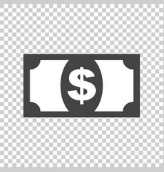 money icon in flat style dollar on isolated vector image