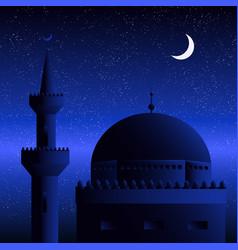 mosque on moon abd stars gradient background vector image