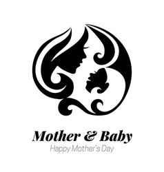 Mother silhouette with her baby card vector