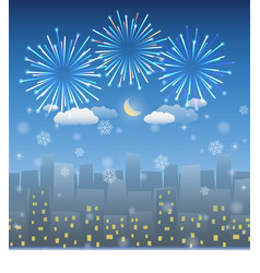 night city background with snow and firework vector image