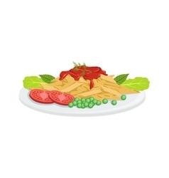 Pasta European Cuisine Food Menu Item Detailed vector